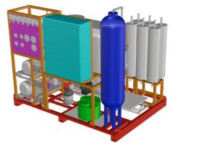 Impianto pilota Exxro per il trattamento di acque cariche di solventi di processo di verniciatura
